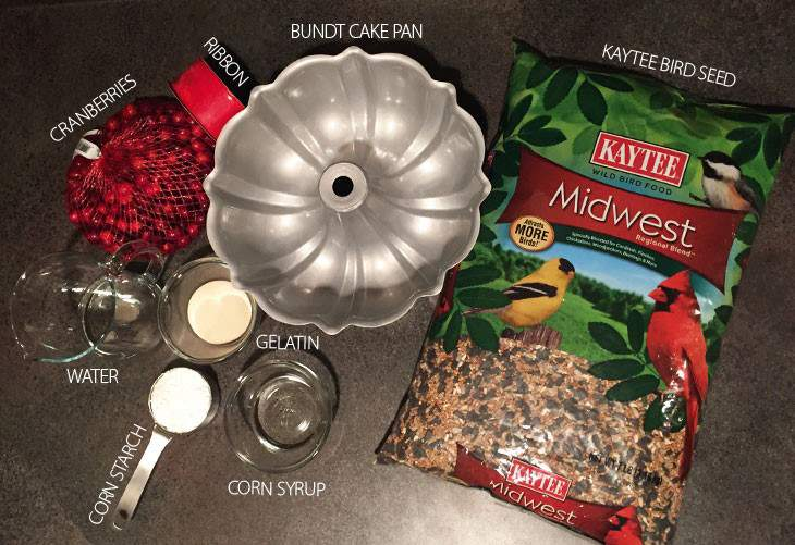 DIY Bird Seed Wreath Ingredients