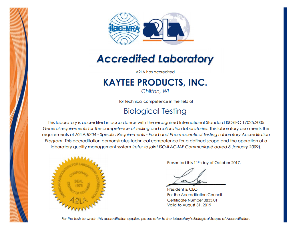 Kaytee A2LA Certification